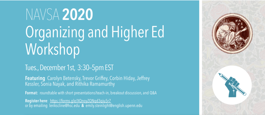 ad for Organizing and Higher ed workshop
